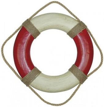 Záchranný kruh krémově červený s lanem