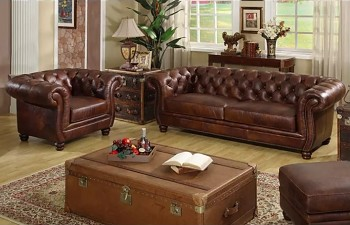 Kožená sedací souprava / sedačka Chesterfield Luxury 3+2+1