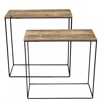 Dva odkládací stolky z recyklovaného dřeva