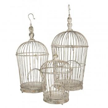 Sada tří dekorativních ptačích klecí