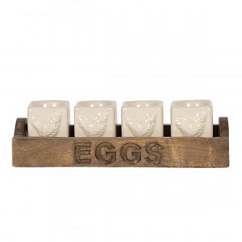 Čtyři kalíšky na vajíčko v dřevěném podnose CHICKEN