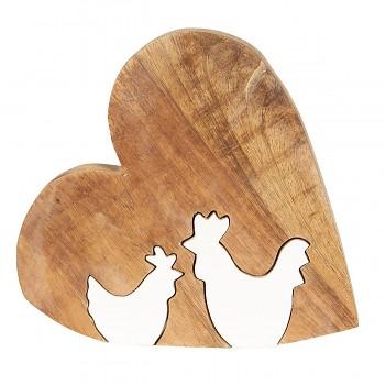 Dřevěné srdíčko se slepičkou a kohoutkem