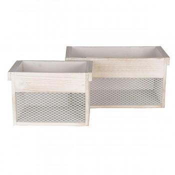 Dva dřevěné úložné boxy