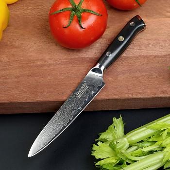 """Kuchyňský víceúčelový nůž 5"""" Sunnecko, 73 vrstev damaškové oceli"""