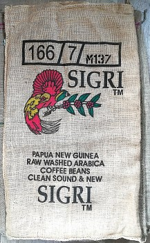 Jutový pytel s logem Papua New Guinea Sigri
