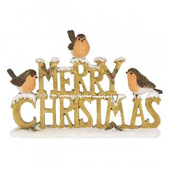Dekorativní nápis MERRY CHRISTMAS s ptáčky