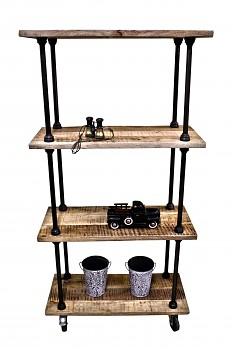 Industriální regál na kolečkách z mangového dřeva a oceli