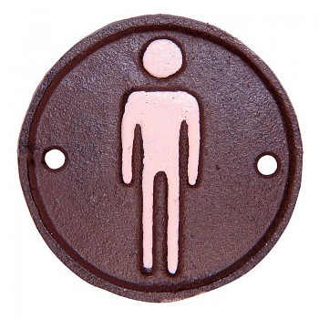 Litinová cedulka k označení WC pro pány