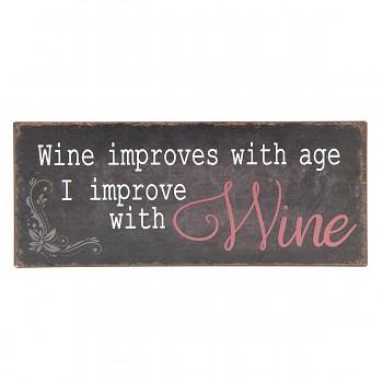 Plechová cedule I IMPROVE WITH WINE