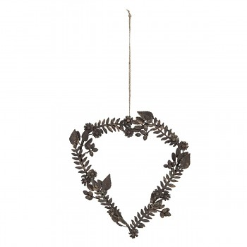 Závěsný kovový věnec HEART