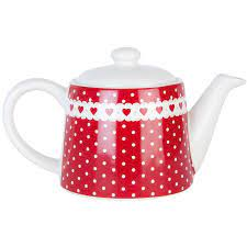 Dolomitová konvička na čaj tečky a srdíčka