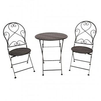 Kovový stolek a dvě židle