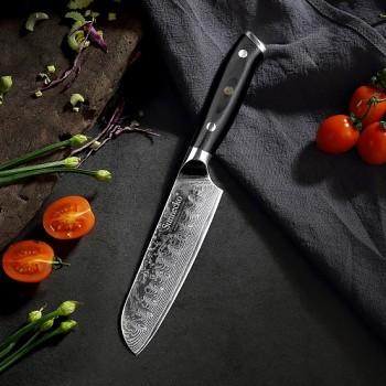 """Kuchyňský Santoku nůž 5"""" Sunnecko 73 vrstev damaškové oceli"""