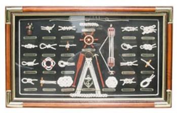 Deska s lodními uzly dřevěná s popisky ve francouzštině