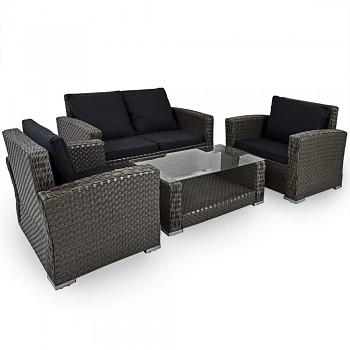 Jídelní zahradní set Lounge z umělého ratanu- Black