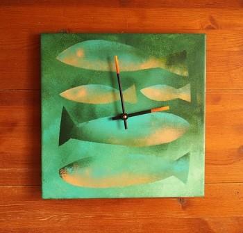 Keramické hodiny Ryby