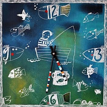 Keramické hodiny Rybář
