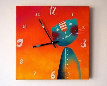 Keramické hodiny Kocourek