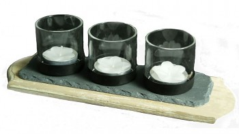 Svícen pro 3 čajové svíčky, dřevo, břidlice