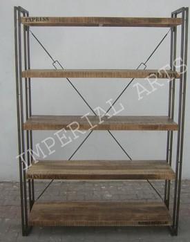Industriální regál z mangového dřeva a oceli