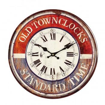 Plechové nástěnné hodiny Old Town