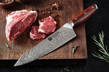 """Nůž šéfkuchaře 8.5"""" XINZUO 67 vrstev damaškové oceli"""