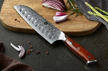 "Santoku nůž 7"" XINZUO 67 vrstev damaškové oceli"