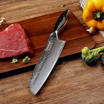 """Kuchyňský Santoku nůž 7"""" Sunnecko 73 vrstev damaškové oceli"""