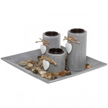 Svícen na čajové svíčky s podnosem Zen