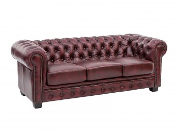 Kožená sedačka 3 sedák Chesterfield Newcastle