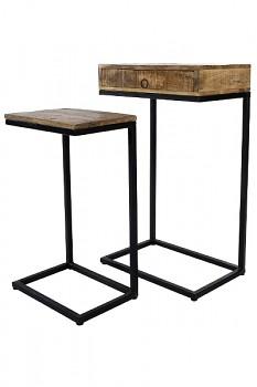 Sada odkládacích stolků z mangového dřeva a kovu