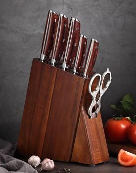 Luxusní stojan na nože z akáciového dřeva XINZUO