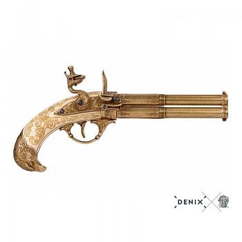 Křesadlová pistole 18.století dvouhlavňová, Francie