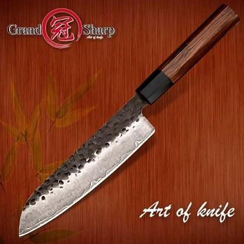 """Kuchyňský Santoku nůž 7"""" Grand Sharp TOKUŠIMA ručně kovaný"""