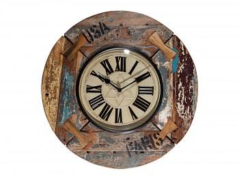 Nástěnné hodiny z recyklovaného dřeva 46cm