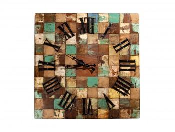 Nástěnné hodiny z recyklovaného dřeva 40x40 cm