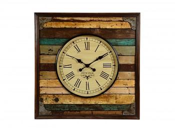 Nástěnné hodiny z recyklovaného dřeva Heritage, 76x76 cm