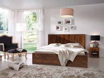 Přírodní dřevěná postel Palison tmavá