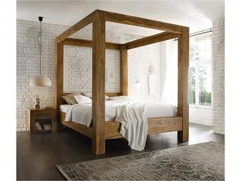 Heaven dřevěná postel s nebesy
