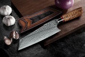 """Prémiový kuchyňský santoku nůž PEDWIFE 7.7"""" 73 vrstev damaškové oceli"""