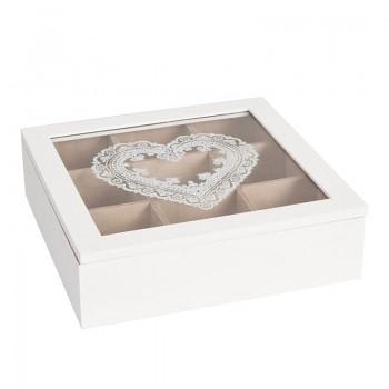 Krabička na čajové sáčky HEARTS WHITE