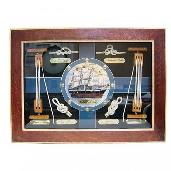 Deska s lodními uzly dřevěná s plachetnicí