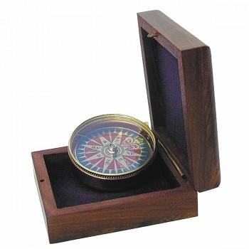Mosazný kompas v dřevěném boxu Liverpool 1137