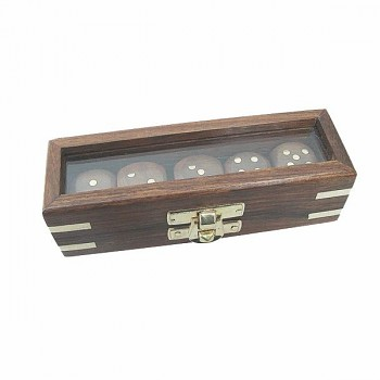 Kostky v dřevěném boxu 5 ks