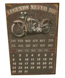 Plechová tabule  kalendář Legends never die