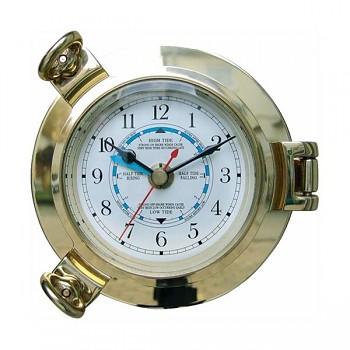Mosazné námořní hodiny s měřením přílivu a odlivu